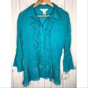 Allison Taylor Size 3X Teal Blue Button Up Blouse